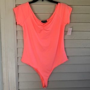 Poof! Women's XL peach short sleeve body suit NWT
